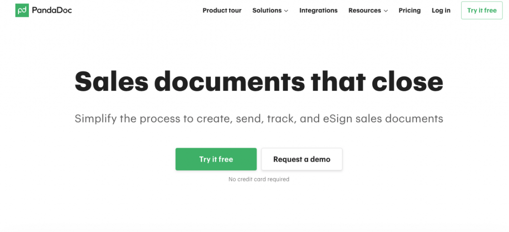 Pandadoc Documentation management SaaS tool