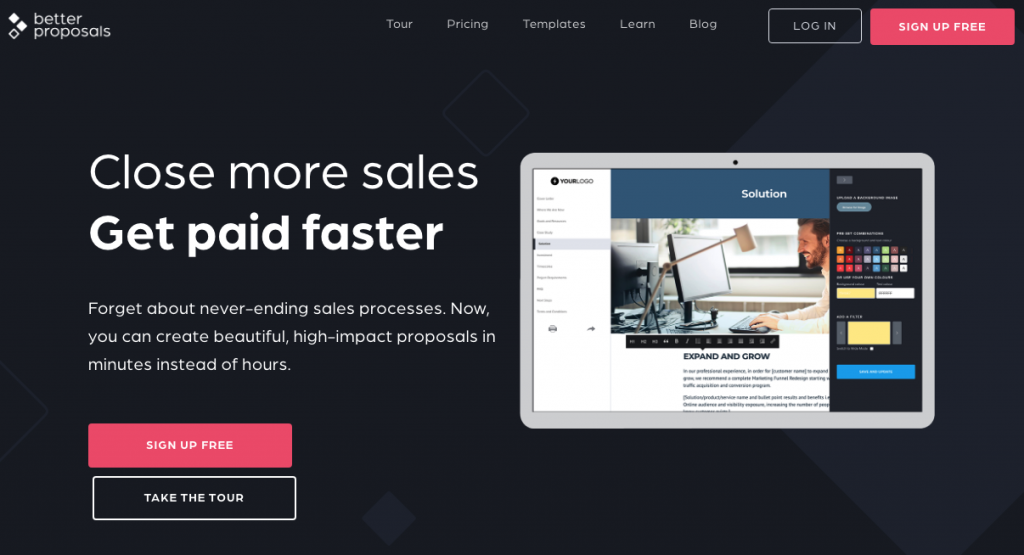 Betterproposals marketing tool